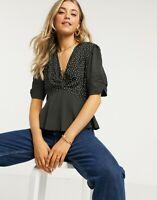 Wednesday's Girl Top Size XS.S,M,18,22 Short sleeve Black Mixed Spot Print GJ25