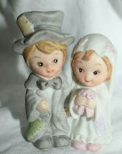 "Estate= Rag to Riches Lefton Bride and Groom Figurine only 3"" tall Adorable 1984"