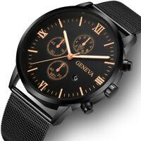 Fashion Men's Stainless Steel Mesh Sport Watch Quartz Analog Date Wrist Watch