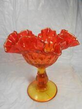 Fenton Amberlina Pedestal Thumbprint Ruffle Top Bowl Tangerine Color Mark Fenton