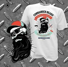 TShirt Gangster Skull Commander Beard Bart Friseur Rockabilly Fun Tee Vintage