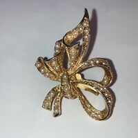 Vintage Costume Jewellery Faux Seed Pearl Double Bow Gold Tone Brooch