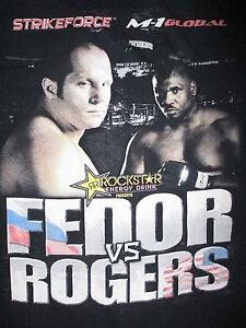 FEDOR vs ROGERS STRIKEFORCE T SHIRT vtg Original MMA M-1 GLOBAL Emelianenko LG