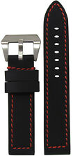 22mm XL Panatime Black Kevlar Style Flat Watch Band w/ Red Stitch 22/22 135/85