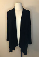 Chico's Travelers Size 3 Open Front Acetate Cardigan Jacket Long Sleeve XL Black
