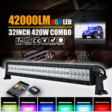 5D 32 INCH 420W HALO RING RGB CREE LED WORK LIGHT BAR COMBO FLASH MULTI COLOR
