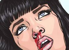 Mia Wallace Pulp Fiction Pop Art Print Turddemon comic movie uma thurman