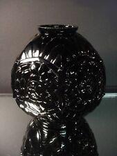 Rare CLA Cristallerie French Art Deco Black Ebony Incised Roses Vase France 1925