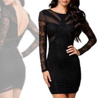 Abito pizzo nero donna vestito party vestitino cocktail miniabito maniche lunghe