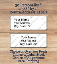 Sheet Of 30 Plain Personalized Self Adhesive Printed Return Address Labels