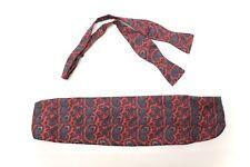 Robert Talbott Mens Silk Necktie Cummerbund Set Red Blue Paisley Print Formal
