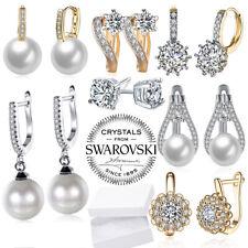 Silver Hoop Huggie Earrings Crystal Star Dangle Drop Women Fashion Jewelry