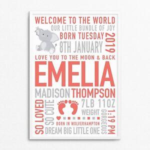 Personalised Elephant Newborn Baby Boy Girl Gifts Wall Art Bedroom Nursery Print