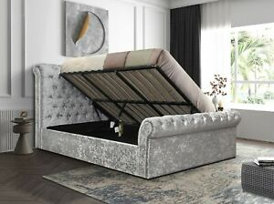 5FT Side Lift Ottoman Luxurious Padded Crushed Velvet Sleigh Bed With Diamante