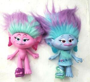 DreamWorks Trolls Satin and Chenille Style Set Dolls Figure Lot of 2 Hasbro 2015