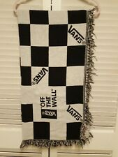 Vans Off The Wall Throw Blanket Black White Checker Board Fringe Woven See Pix.