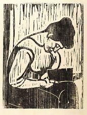 EGON PUKALL - LESENDE - Holzschnitt 1958 (unsigniert)