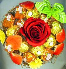 Rocher-Küsschen-Strauß Herzen Geburtstag Praline Schokolade Rose Handarbeit
