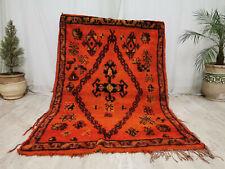 """Handmade Moroccan Vintage Mzouda Carpet 4'7""""x6'6"""" Floral Berber Orange Wool Rug"""