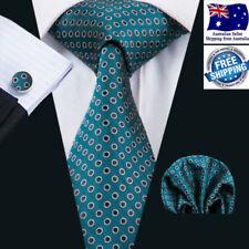 Premium Turquoise Green Polka Dot  Men Tie Formal  Wedding Silk Hanky Cufflinks