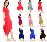 Womens Hanky Hem Swing Dress Ladies Flared Long Hanky Dress