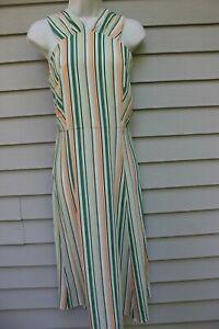 NWT Ann Taylor Green Stripe Halter Type Midi Dress 12