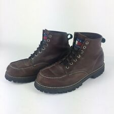 Vintage Tommy Hilfiger Mens Hiking Boots Brown Lace Up  High Top Leather 11.5 M