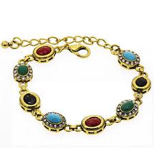 Luxury Vintage Style Emerald Green Blue Red Black Antique Gold Bracelet BB185
