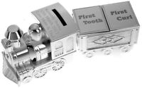 Personalised Engraved Silver Plated Train Moneybox with Tooth & Curl Trinket Box