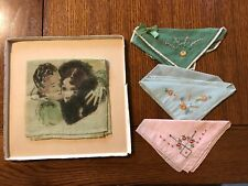 VINTAGE HANDKERCHIEFS 3 Original Box Blue Pink Linen Hand Embroidered Antique