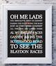 Newcastle United Football Club Lyrics Words Print Picture Gift Logo