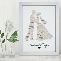 Personalised Word Art Wedding Mr & Mrs Couple Bride Groom Print Frame Gift