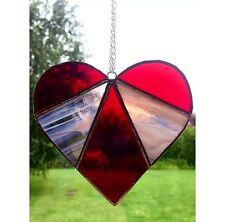 Handmade Stained Glass Love Heart Suncatcher Tiffany Glass Technique Red Glass