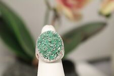 Emerald Cluster Ring Sterling Silver Platinum Plated Oval Jewelry Size 6 NWT