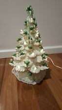 "Vintage 16"" Ceramic White Iridescent Christmas Tree Lighted MCM Eames Era"