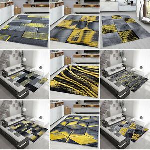 OCHRE YELLOW GREY MUSTARD GOLD RUG LARGE LIVING ROOM FLOOR BEDROOM CARPET RUGS