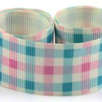 2 METRE BLUE & PINK CHECKED DESIGN 25mm GROSGRAIN RIBBON CARDMAKING  GG5486