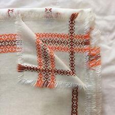 Vintage Retro 70s White Embroidered Orange Brown Woven Rectangular Table Cloth