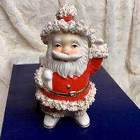 Vintage Spaghetti Santa Bag Planter Candy Cane Holder 1950s Napco Japan FLAWS