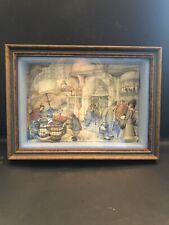Vintage Anton Pieck 3-D Shadow Box Street Market Framed Picture