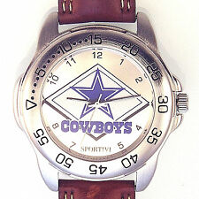 Dallas Cowboys Sportivi, Unworn NFL Man's Vintage 1997, Heavy Leather Watch! $79