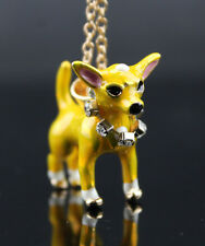 201a Betsey Johnson Crystal Enamel Puppy Lovely Chihuahua Pendant Short Necklace