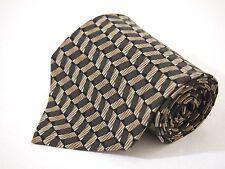 "Croft & Barrow Mens Brown Grey Geometric Necktie Tie 100% Silk 59"" Classic"