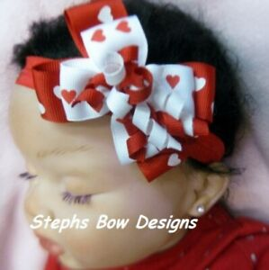 Red & White Hearts Valentine's Day Layered Korker Hair Bow Headband Dainty Cute