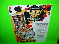 Williams LUCKY ACE 1974 Original Flipper Game Pinball Machine Promo Sales FLYER