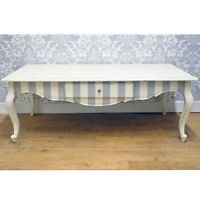 French Vintage Style Shabby Chic Painted Stripe Mahogany Wood Coffee Table