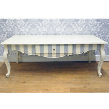 Bespoke Coffee Table Blue & White Striped Mahogany Wood Shabby Chic 120 X 60cm