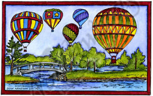 Hot Air Balloons Bridge Scene Wood Mounted Rubber Stamp NORTHWOODS NN10259 New