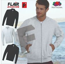 Fruit Of The Loom Lightweight Baseball Sweat Jacket, 3-Colour ,(S-2XL)