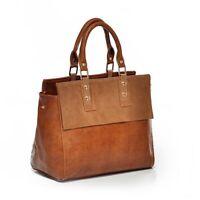 Womens Genuine Real Leather Brown Shoulder Bag Crossbody Vintage Tote Handbag